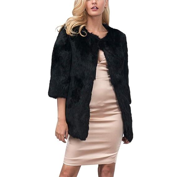 Amazon.com: AOJIAN Women Jacket 3/4 Sleeve Outwear Warm Faux Fur Solid Ladies Noble Coat Black: Clothing