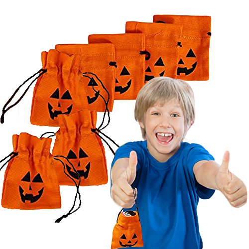 Halloween Treat Holders - Toy Cubby 4 Inch Goody Drawstring Canvas Bags - 12 Party Themed Pumpkin Sacks. (Good Halloween Party Treats)