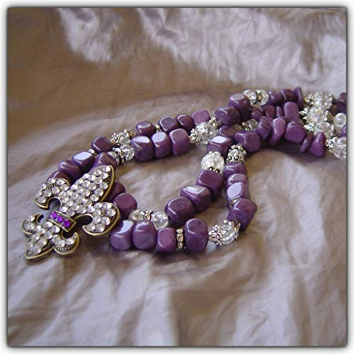 Fleur-de-Lis Violet Purple Lavender Amethyst Jade Quartz Pendant Statement Necklace