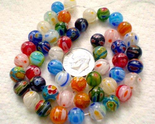 - Beading Station 50-Piece Mix Millefiori Lampwork Glass Round Beads, 8mm