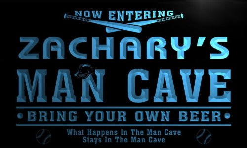 qb181-b Zachary's Man Cave Baseball Neon Beer Sign ()