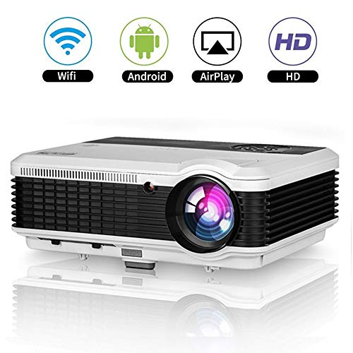 LCD Android Smart Video Projector with Sound Zoom Wireless HDMI WiFi HD for iPhone iPad Smartphone PC Laptop Slides Home Theater Karaoke TV DVD Movies PS4 Xbox Gaming Wedding 1280x800 Support 1080P