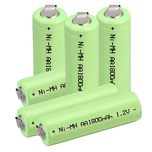 Windmax 6 x NiMH 1.2v AA 1800 mAh Electric Shaver Rechargeable Battery With Solder Tabs