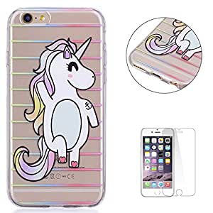 """KaseHom iPhone 6 Plus 5.5"""" TPU Case Clear Crystal with [Free Screen Protector] Funny Anime Design Ultra Slim Soft Rubber Shock-Absorption Bumper Cover Shell for iPhone 6S Plus - Striped Unicorn"""