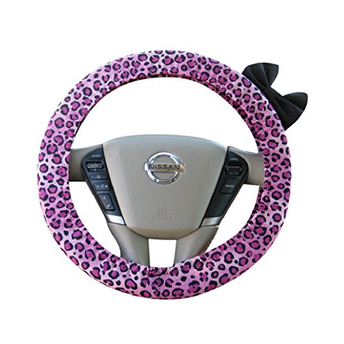 Beau Fleurs BF11087 - Steering Wheel Cover Bow, Pink Cheetah Steering Wheel Cover with Black Bow (Wheel Steering Pink Cheetah Cover)