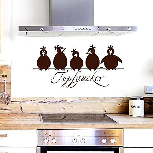 grandora w862 wandtattoo topfgucker 5 vögel i braun 58 x 27 cm i ... - Wandtatoos Für Die Küche