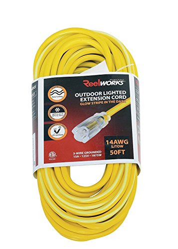 (REELWORKS Extension Cord Long 50 FT Heavy Duty Commercial Premium Grade 14AWG SJTOW Cable Single Light Up Tap w/Glow Strip For Indoor & Outdoor Ultra Flexible Weather UV Oil Acid Ozone Resistant )