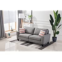 Living room sofa bedroomwith rubber wood contemporary upholstered large (78, Gray)