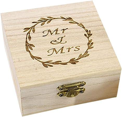 Amosfun Caja de Madera de Anillos de Novios Cajas de Madera para Decorar para Fiesta Ceremonia de Boda Vintage Caja de Joyería con Patron de MR Mrs: Amazon.es: Hogar