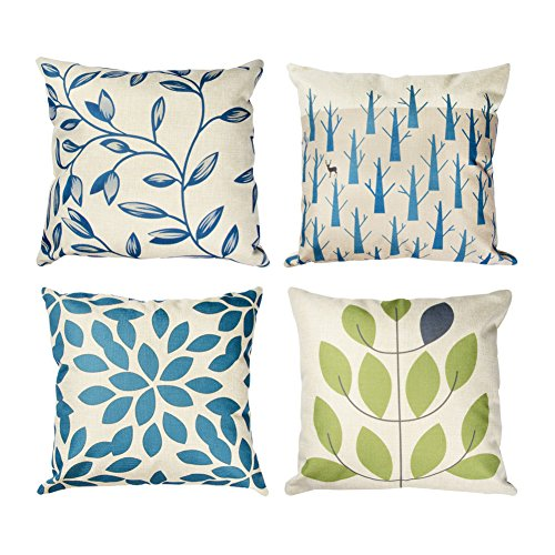Top Finel New Living Blue&Green Leaves Style Decorative Throw Pillow Case Cotton Linen Cushion Cover Set of 4,18x18 Inch (Decorative Pillows Leaf)