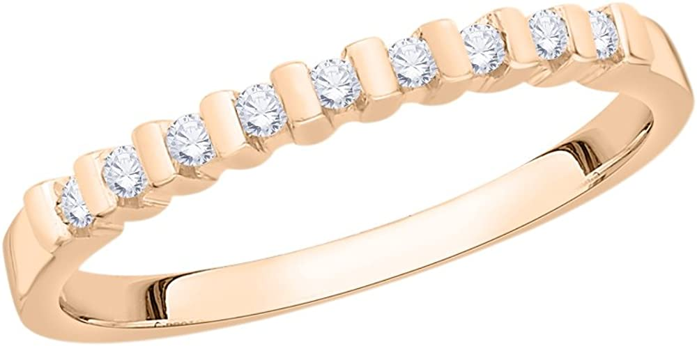 Diamond Wedding Band in 10K Pink Gold 1//8 cttw, G-H,I2-I3 Size-6.25