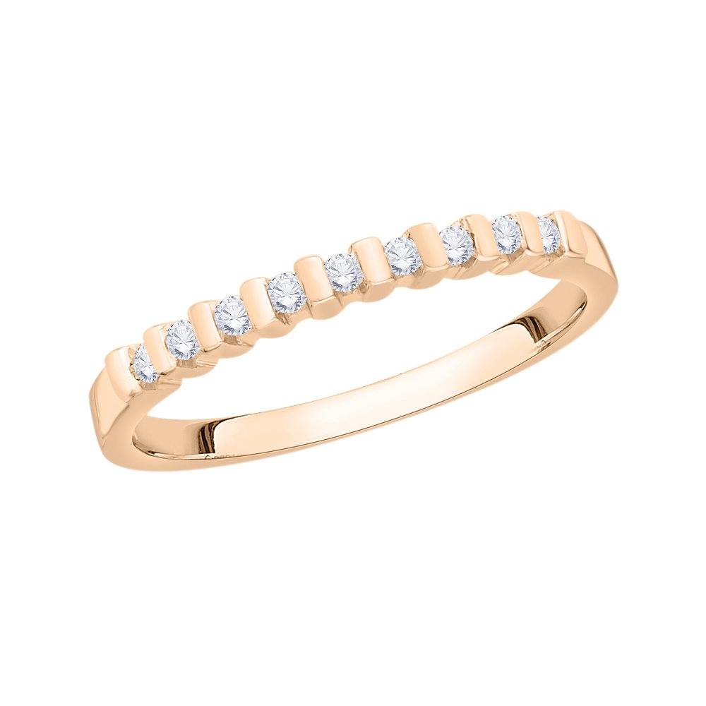 Size-6.75 G-H,I2-I3 Diamond Wedding Band in 10K Pink Gold 1//8 cttw,