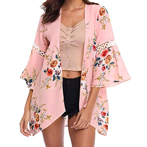 Syban Women Lace Floral Open Cape Casual Coat Loose Blouse kimono Jacket Cardigan(Medium,Y1-Pink)
