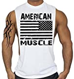 American Muscle BK Workout T-Shirt Bodybuilding Tank Top White S-3XL (S, White) offers