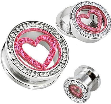 Pendientes Dilataciones Corazón Purpurina Rosa Cristal con Piedras ...