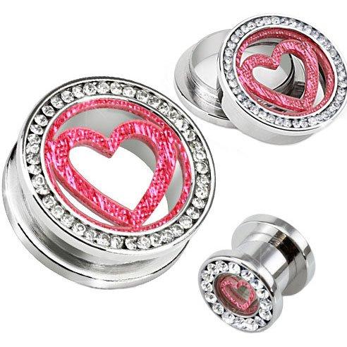 Pendientes Dilataciones Corazón Purpurina Rosa Cristal con ...