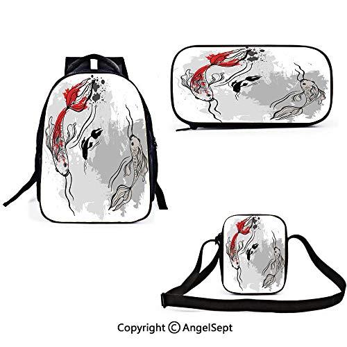 Teens Backpack Set Japanese Japanese Style Aesthetic Digital Motley Koi Fish Marine Underwater Theme Print Decorative Grey Orange Girls mens School Bags Travel Bookbags