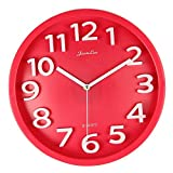 Harryup Large Number Wall Clock,12'' Silent Non-ticking Quartz Decorative Wall Clock, Kids Wall Clock - Modern Style Good for Living Room/Home/Office Battery Operated Red