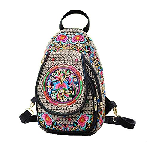 Embroidered Laptop Bags - Women Handmade Flower Embroidered Bag Canvas National Trend Embroidery Ethnic Backpack Travel Shoulder Bags Schoolbags Mochila (coins)