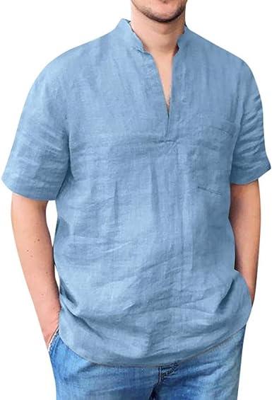 Camisa Hombre Manga Corta Transpirable y cómodo Camiseta de algodón y Lino de Color sólido para Hombre con Cuello en V con Bolsillo Camisas Casual para Hombres Slim fit: Amazon.es: Ropa y