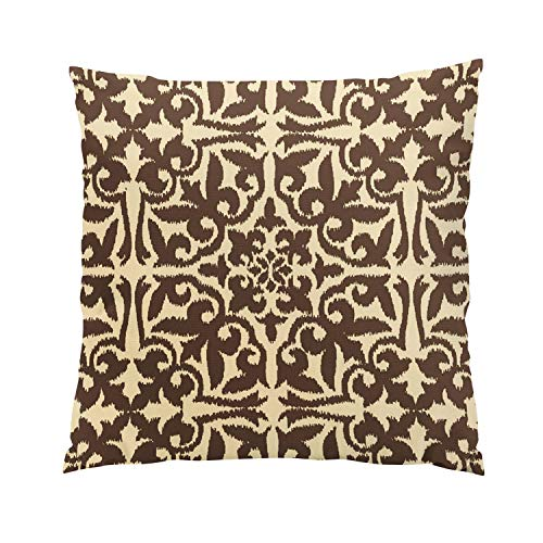 Seat Anchor Medallion - Sokiiy Ikat Damask Chocolate Brown and Tan Fancy Hidden Zipper Home Sofa Decorative Throw Pillow Cover Cushion Case Square 16x16 Inch Two Sides Design Printed Pillowcase