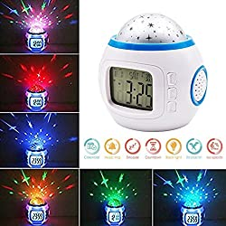 Besplore Music Star Sky Projection Alarm Clock,LED 7 Color Changing,Calendar Night Light with Sleeping Music