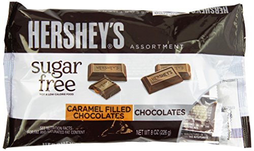 Hershey's Sugar Free Milk Chocolate And Caramel Filled Chocolate Assortment Bag), 8-Ounce (Pack of 3) -