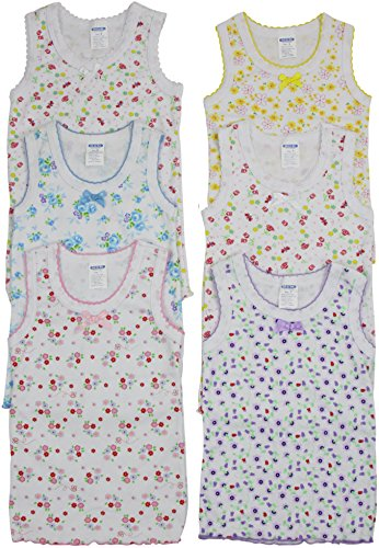 ToBeInStyle Girl's Pack of 4 Bow Detail Tank Tops - Flowers - Size 6