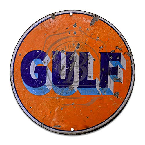 (Brotherhood Vintage Gulf Oil Sign Vintage Garage Signs - Garage Decor Metal Tin Signs - – Metal Garage Sign)