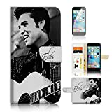 ( For iPhone 6 6S 4.7') Flip Wallet Case Cover and Screen Protector Bundle A8415 Elvis Presley