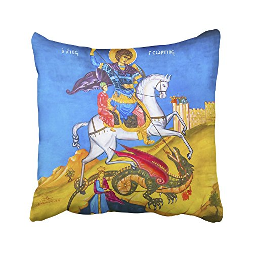 Emvency Decorative Throw Pillow Covers Cases Madaba November 25 Saint George Dragon Fresco George's Greek Orthodox Church was Created in The 16x16 inches Pillowcases Case Cover Cushion Two Sided