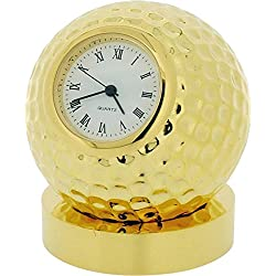 Gift Time Products Unisex Golf Ball on Stand Miniature Clock - Gold