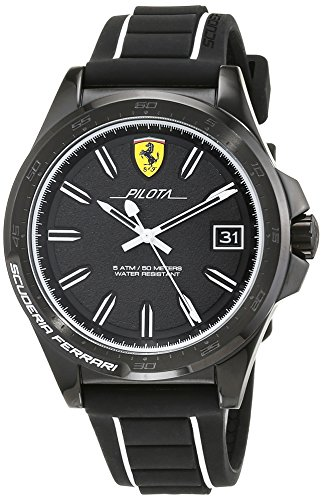 Ferrari Pilota Black and White Dial Men's Watch 830422
