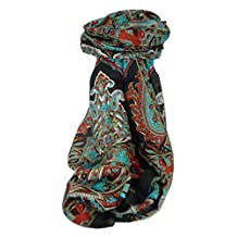 Classic Paisley Long Scarf Mulberry Silk Dara Jet by Pashmina & Silk