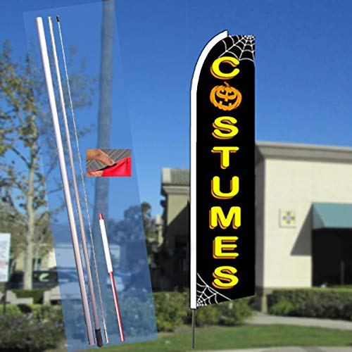 COSTUMES (Halloween) Flutter Feather Flag Bundle (11.5' Tall Flag, 15' Tall Flagpole, Ground Mount Stake) ()