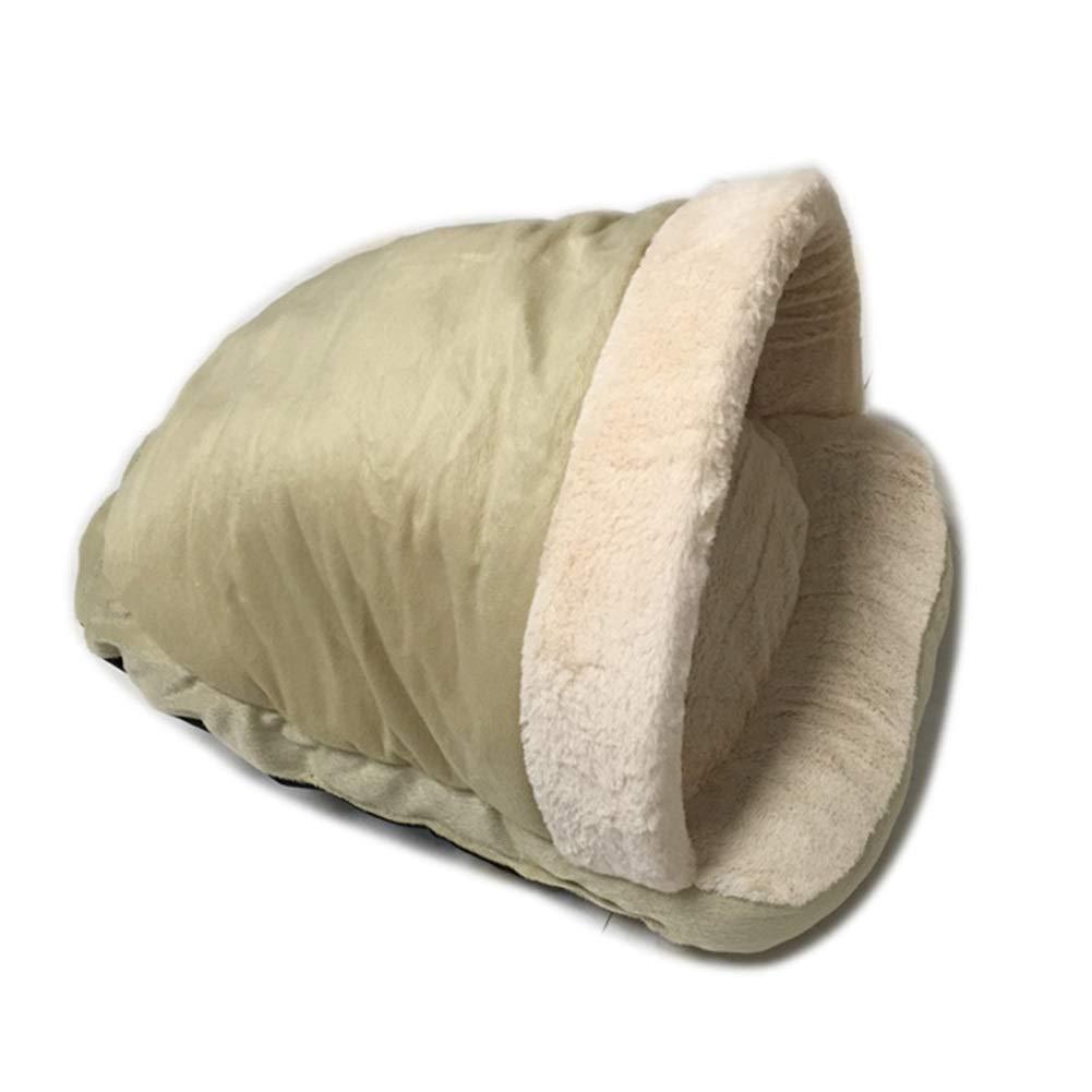 1pcs Cat Sleeping Bag Pad House Hut Cave, Short Fluff PP Cotton Soft Cat Litter No Need to Add A Cushion Small Pet Nest, Green (Size   1pcs)