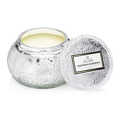 Voluspa Yashioka Gardenia Embossed Glass Chawan Bowl Candle, 14 ounces