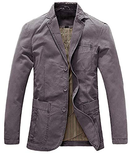 (chouyatou Men's Casual Three-Button Stripe Lined Cotton Twill Suit Jacket (XX-Large, Grey))