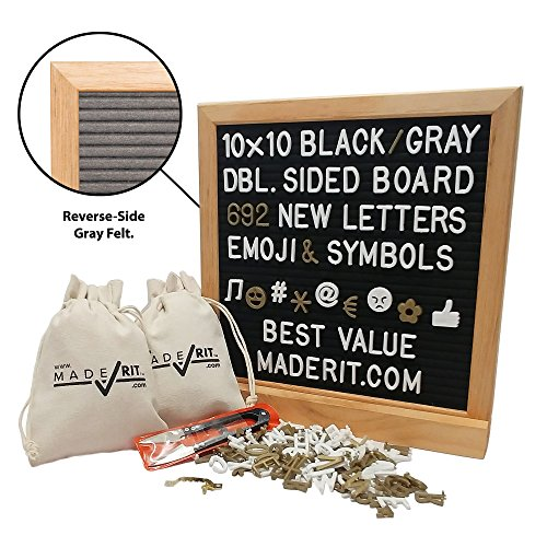 10x10 Gray and Black Felt Double Sided Letter Board Kit + 692 White & Gold 3/4