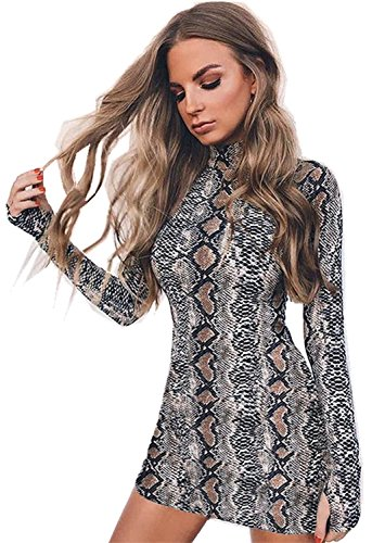 Arctic Cubic High Mock Neck Long Sleeve Snakeskin Printed Mini Bodycon Dress Grey M (Print Snake Dress)