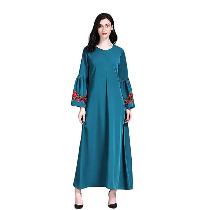 QUICKLYLY-Vestido Mujer Mujeres Maxi Long Manga Larga Vestido Vintage más tamaño Bordado marroquí Kaftan