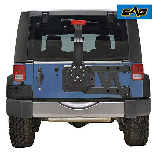 (EAG Tire Carrier Kit Black Textured with Hinge Casting Fit for 07-18 Jeep JK Wrangler)