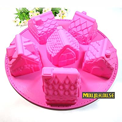 Pinkie Tm Silicone bakeware molds 6 small house / pastry/ jelly pudding / Soap / freezer /ice mold mould,moulds wholesale