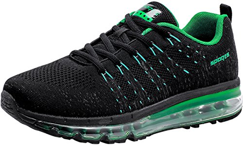 PORTANT Women's Athletic Tennis Air Cushion Running Sneakers Fashion Sport Fitness Workout Gym Jogging Walking Shoes Max Size Black Green 9 B(M) US