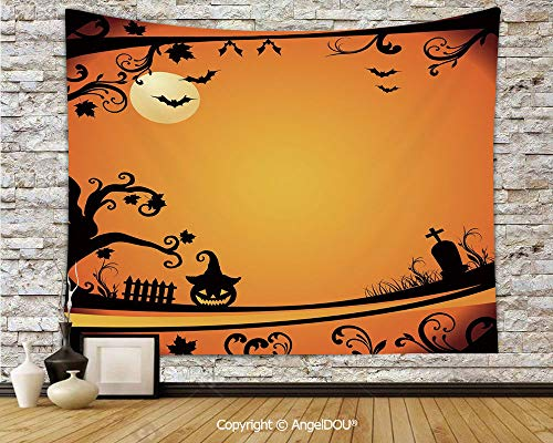 AngelDOU Vintage Halloween Dorm Decor Wall Hanging Tapestry Halloween Themed Image Eerie Atmosphere Gravestone Evil Pumpkin Moon Decorative for Living Room Bedroom.W59xL51.2(inch)