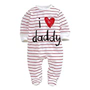 Infant and Toddler Baby Long Sleeve Letters I love Mommy Daddy Printed Onesies Jumpsuit (0-6Months, Dad)
