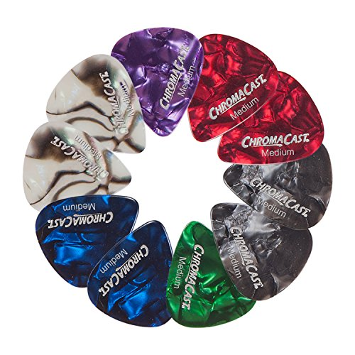 ChromaCast Pearl Celluloid Guitar Pick 10 Pack, Medium Gauge (.73mm) -