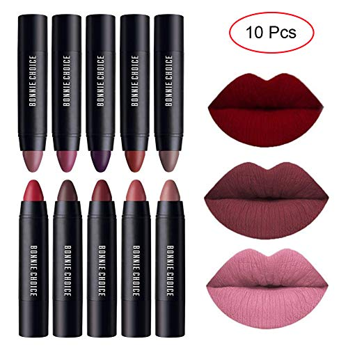BONNIE CHOICE 10 Colors Moisturizing Matte Lip Pencil Crayon, Velvet Lipstick Waterproof Long Lasting Makeup Cosmetic Hot Red Lip Liner
