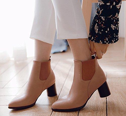 Talon Souple Chelsea Tige Courte Aisun Boots Femme Mode Bloc Brun HTwOqEU