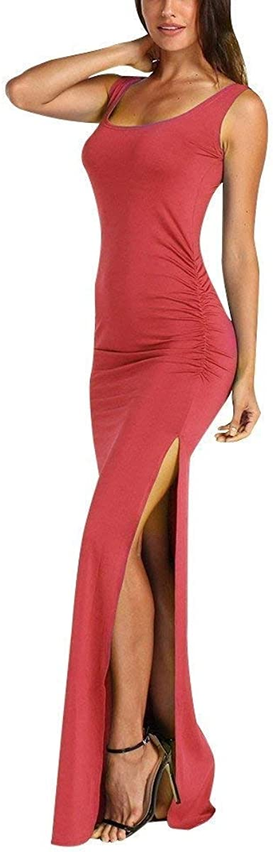 Ladies Ruched Sleeveless High Neck Womens Back Slit Evening Cocktail Maxi Dress